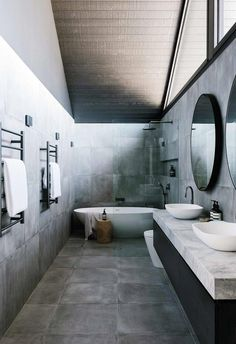 The long, slim master bedroom ensuite spans the length of the entire first floor. An apex pitched ro Zen Bathroom, Grey Bathrooms, Modern Bathroom, Bathroom Inspo, Bathroom Layout, Bathroom Inspiration, Small Bathroom, Bungalows, Marble Benchtop