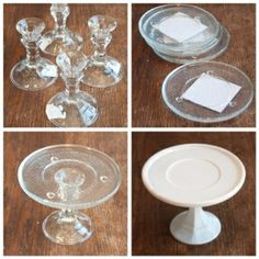 DIY Cake Plate:  candlestick holders and small plates from the $1 store glued together and spray-painted white to look like vintage milk gla...