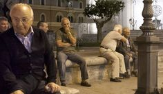 More outdoor furniture - in this case, where the old men gather in the warm evening.