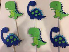 12 dinosaur cupcake toppers by Rachelpapercreations on Etsy Dinosaur Cupcake Toppers, Dinosaur Birthday Cakes, Jungle Theme Birthday, Dragon Birthday, Dinosaur Party, 2nd Birthday Parties, Boy Birthday, Happy Birthday, Die Dinos Baby