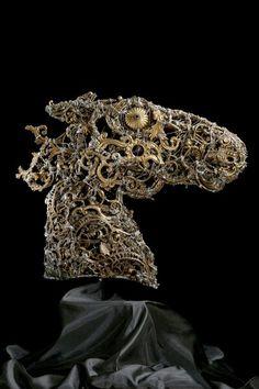 #Head #horse - (2009) 48x55 - made with #copper, #brass, #bronze and #silver #art #sculpture #contemporaryart #artist #italian #metalart #animalart