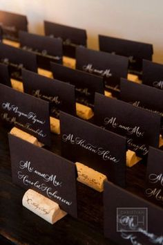Dark place cards with white writing and wine cork bases. Perfect for a vineyard wedding! Wedding Reception, Our Wedding, Dream Wedding, Trendy Wedding, Wedding Card, Wedding Seating, Wedding Pins, Wedding Wine Theme, Name Cards For Wedding