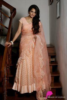 Princess Esra - House of Ayana Saree Blouse Neck Designs, Half Saree Designs, Fancy Blouse Designs, Bridal Blouse Designs, Lehenga Designs, Dress Designs, Half Saree Lehenga, Saree Dress, Floral Lehenga