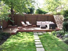 Great Backyard Makeover With Small Backyard Landscaping Ideas And Wood Decks Also  Patio Furniture With Cheap Fencing