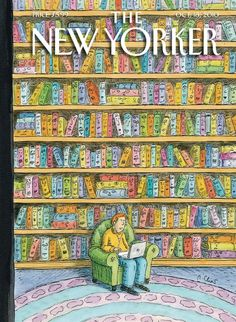 The New Yorker magazine cover art (Oct 18, 2010)  Roz CHAST (Artist, Connecticut, USA).  Prints available at:  www.condenaststor...  Look at all the dismayed faces on the book spines as our fearless reader ignores them for his laptop! - pfb :-) ... Promote the Arts. Give credit where due.  Keep the artists name with his/her art.