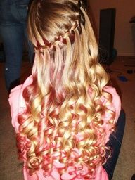 This is gorgeous! I love the color and the curls...not real sure about the waterfall though