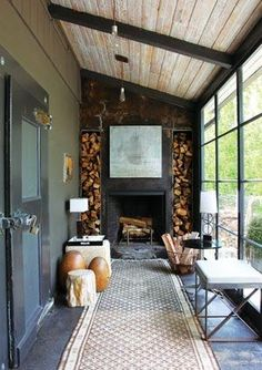 "Similar to what Southerners call a ""Lean To"" style of Porch. Similar to what Southerners call a ""Lean To"" style of Porch. Extension Veranda, Rustic Fireplaces, Exposed Wood, Faux Wood Beams, Wood Paneling, House Extensions, Cozy Living Rooms, Living Spaces, Design Case"