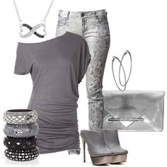 Metallic silver 2, created by hope-houston on Polyvore
