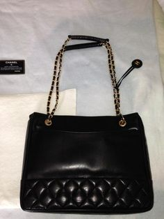 Chanel Black Quilted Medallion Lambskin Medium Shopper Tote Bag