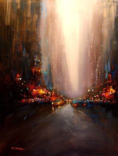 Van Tame beautiful cityscape with colorful lights Abstract Canvas, Oil Painting On Canvas, New York Painting, Pink Abstract, Fine Art, Painting Inspiration, Impressionist, Amazing Art, Modern Art