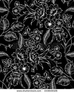 seamless  floral pattern on a black background