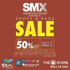 Don't miss the Shoes & Bags Sale on July 14 - 17, 2016 at the SMX Convention Center, Hall 2, Mall of Asia Complex!   Enjoy up to 50% OFF on your favorite shoes, bags and luggage brands!  Participating Brands: Merrell, Converse, Vans, Pony, Skechers, Puma, Brooks, Fila, Hush Puppies, Sebago, Sperry, Keds, Barbie, Chicco, Elle, Fisher Price, Disney, Kipling, Samsonite, American Tourister, Lipault, High Sierra, and Targus.  http://mypromo.com.ph/
