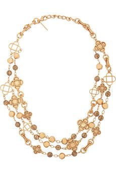 Oscar de la Renta Mosaico gold-plated Swarovski crystal necklace | THE OUTNET