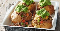Load up golden-baked potatoes with savoury mince, cheese and mashed peas for the ultimate family night in. Minced Beef Recipes, Mince Recipes, Cooking Recipes, Meal Recipes, Lamb Dishes, Beef Dishes, Veggie Dishes, Side Dishes, Fun Easy Recipes
