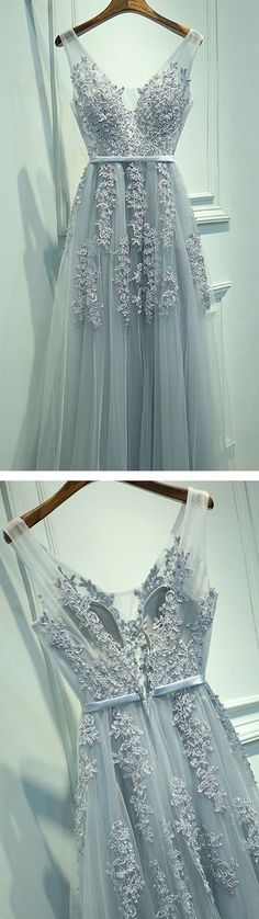 Blush A-Line V-Neck Sleeveless Gray Long Prom Dress with Lace cheap prom dress,prom dresses,long prom dress,2017 prom dress