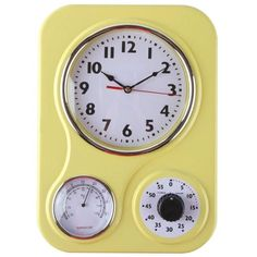 Lilys Yellow Retro Kitchen Wall Clock w Thermometer and Timer - Clock - Ideas of Clock - Lilys Yellow Retro Kitchen Wall Clock w Thermometer and Timer Price :