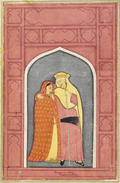 A young woman stands with her governess, an older gray-haired duenna who holds her gently around the shoulder. They are dressed against the cold weather with hood and robes standing within a slate-colored arched niche surrounded by coral-colored architectural details. India, Provincial Mughal, circa 1800