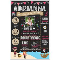 pirate-girls-chalkboard-24x36 First Birthday Invitation Cards, First Birthday Chalkboard, Girl Themes, Difficult People, Art Party, Chalkboard Art, Photo Props, First Birthdays, Coupon Lingo