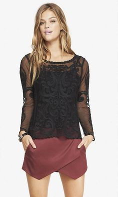 BAROQUE LACE TEE | Express  $29.94...Cute with colored shorts