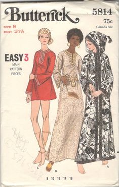 Butterick 5814 1970s Misses Hooded Cover Up Caftan Micro Mini Dress Pattern Easy Bell Sleeves Womens Vintage Sewing Pattern Size 8 Or 12 UC