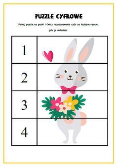 wielkanoc puzzle cyfrowe przedszkole Kindergarten Writing, 4 Kids, Easter Crafts, Jigsaw Puzzles, Activities, Education, School, Diy, Easter Ideas For Kids