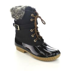 Nature Breeze Duck-01 Women's Chic Lace Up Buckled Duck Waterproof Snow Boots *** Trust me, this is great! Click the image. : Boots