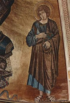 Mosaics of the Cathedral of Pisa: Christ on the throne with Mary and John. Item: John. 1301-1302