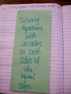 Solving Equations with variables on both sides of the equal sign