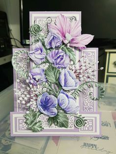 Fancy Fold Cards, Folded Cards, Tattered Lace Cards, Step Cards, Easel Cards, Carnations, Hobbies And Crafts, Cardmaking, Decorative Boxes