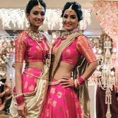 Image may contain: 3 people, people standing Indian Wedding Gowns, Indian Dresses, Indian Outfits, Indian Bridal, Latest Outfits, Fashion Outfits, Choli Dress, Lehenga Choli, Indian Designer Suits
