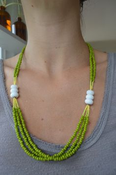 Spring Green Lampworked Bead Necklace by CarrieGrulaGlass on Etsy, $65.00