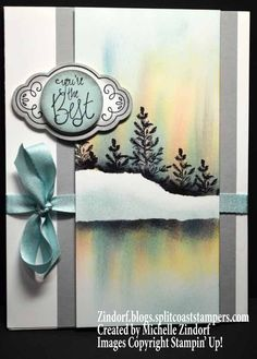 Hand stamped Mello Winter Stampin' Up! Card created by Michelle Zindorf using Lovely as a Tree and Label Me Pretty stamp sets.