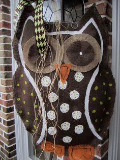 LOVE THIS Owl Burlap Door Hanger Door Decoration by nursejeanneg on Etsy