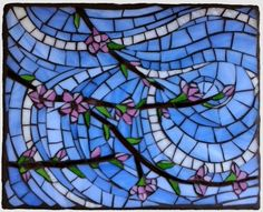 """'Fruit Trees: Peach' © Joanne Daschel - Stained glass mosaic on porcelain tile substrate, 8x10"""" - $165 includes free shipping in continental USA."""