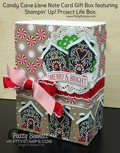 Candy Cane Lane Note Cards in a repurposed Project Life Box.  Great for gift giving!  by Patty Bennett