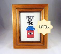 Cross Stitch Pattern  Pump Up The Jam Cross Stitch   by Quirkorium, $3.50