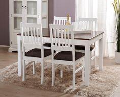 OONA-ruokailuryhmä valkoinen/tumma pähkinä (pöytä 120x85cm ja 4 tuolia verhoiltu istuin)   Sotka.fi