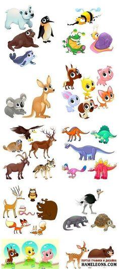 Забавные животные: пингвин, заяц, морж, медведь, черепаха, волк, олень, страус, кенгуру, орел, сова, лиса - векторная коллекция | Funny animals