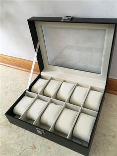 Annons på Tradera: Mörkbrun Klocklåda Klockbox för 10 st klockor