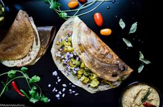 Make this yum, low-carb and vegan instant tofu dosa and satisfy your masala dosa cravings with this dosa, cauliflower masala and chutney! Low Carb Vegetarian Diet, Vegetarian Recipes, Chutney, Tofu, Cravings, Clean Eating, Curry, Protein, Healthy