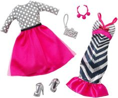 Barbie Fashion Pack 2-Pack, Pink Glitzy Stripes