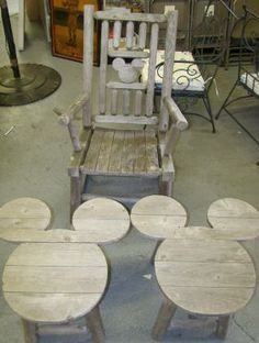 These will go nicely by my outdoor fireplace. I even like the bench in the background with the hidden Mickey decorations 2023 MICKEY MOUSE OUTDOOR FURNITURE on LiveAuctioneers Disney Diy, Casa Disney, Disney Home Decor, Frozen Disney, Disney Crafts, Disney Mickey, Disney House, Disney Stuff, Mickey Head