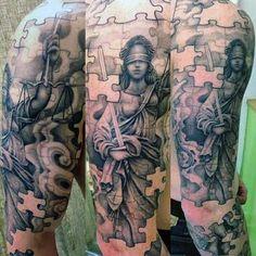 70 Puzzle Piece Tattoo Designs For Men - Inquisitive Mind Ink Full Sleeve Tattoo Design, Full Sleeve Tattoos, Sleeve Tattoos For Women, Tattoos For Guys, Future Tattoos, Tribal Tattoo Designs, Tattoo Designs And Meanings, Tattoo Sleves, Tattoo Designer Online