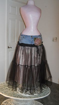 Victorian Renaissance Denim Couture. $92.00, via Etsy. i like the idea of this one, but i think id use black jeans for the yoke, and overlay the tulle over red or silver