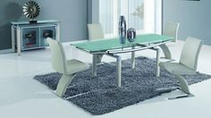 Global D88-Beige Diningroom Set - Silver diningroom set. Modern glass set consist of: dinning table with extension, 4 side chairs, 2-doors buffet.