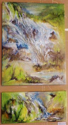 Astrid Stoffels 'Water fall(s)' Dutch, Waterfall, Painting, Art, Art Background, Dutch Language, Painting Art, Kunst, Paintings