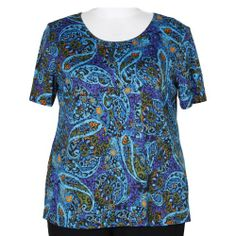 Anjel Turquoise Round Neck Pullover Top Woman's Plus Size Top