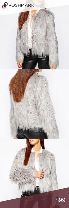 💙Luxury Chic Grey Faux Fur Jacket, 4,6,8,10 💙Material: faux fur. Polyester liner lining.  💙Feature: soft and warm all-over faux fur. Grey color gives it a luxurious but street causal feeling. Can pair with jeans, black leather pants, leggings or mini dress! Perfect for holiday season!  💙Size: 4,6,8,10. Select your usual size, true to size. Size up for an extra overlook fitting. Jackets & Coats