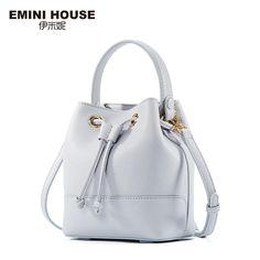 EMINI HOUSE Genuine Leather Bucket Bag Women Handbags Women Messenger Bags Luxury Shoulder Bags Crossbody Bags For Women
