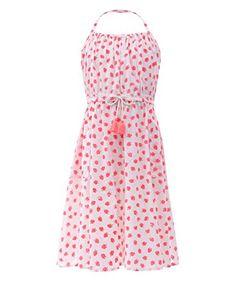 Accessorize Damen Kleid mit Erdbeer-Print Größe 11-12 Jahre Pink